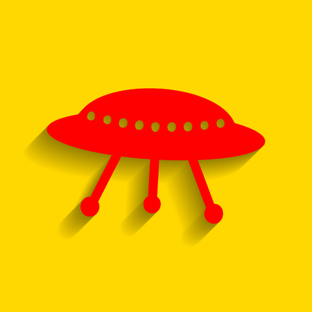 platillo volador: UFO simple sign. Vector. Red icon with soft shadow on golden background. Vectores