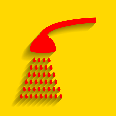 Shower simple sign. Vector. Red icon with soft shadow on golden background.