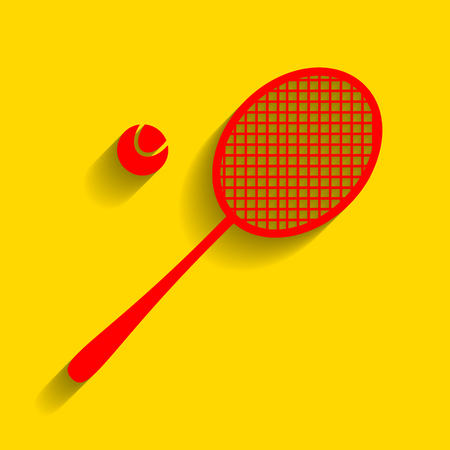 Tennis racquet sign. Vector. Red icon with soft shadow on golden background. Illustration