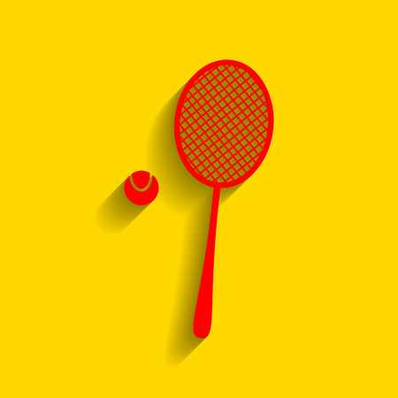 Tennis racquet sign. Vector. Red icon with soft shadow on golden background. Ilustrace