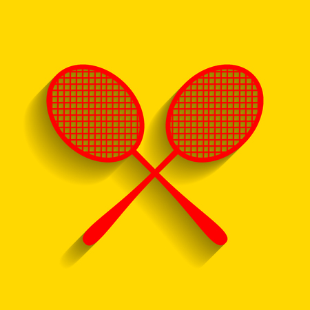 Tennis racquets sign. Vector. Red icon with soft shadow on golden background. Illustration