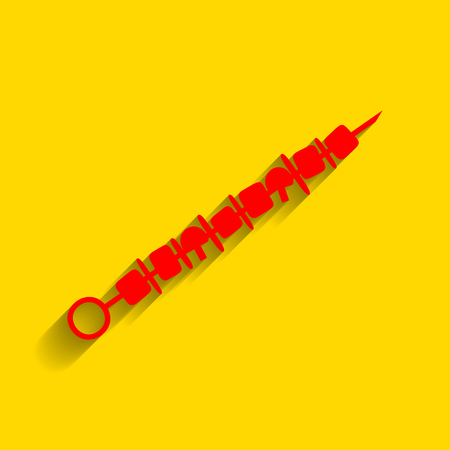 Shish kebab on skewers sign. Vector. Red icon with soft shadow on golden background.
