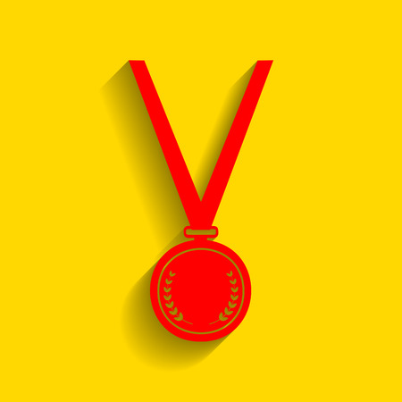 Medal simple sign. Vector. Red icon with soft shadow on golden background.