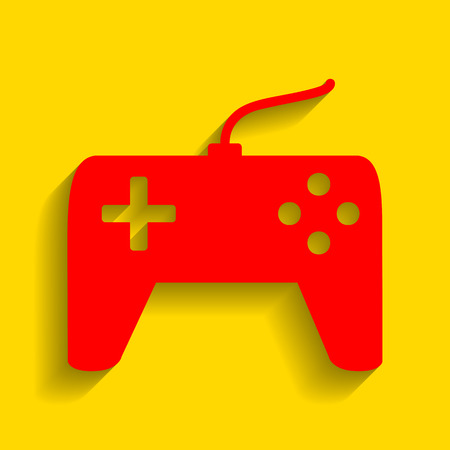 Joystick simple sign. Vector. Red icon with soft shadow on golden background.