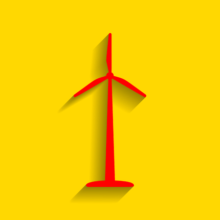 Wind turbine logo or sign. Vector. Red icon with soft shadow on golden background.