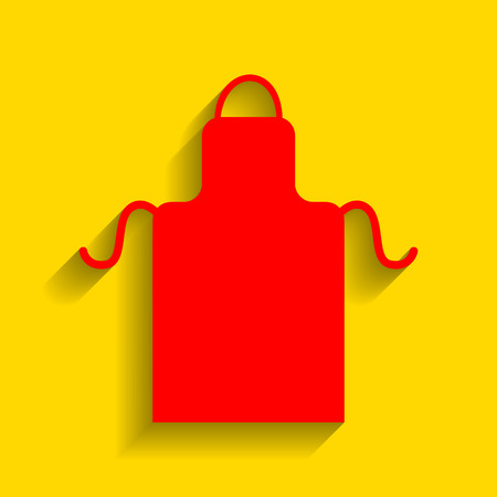 Apron simple sign. Vector. Red icon with soft shadow on golden background.