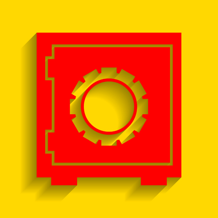 Safe sign illustration. Vector. Red icon with soft shadow on golden background.