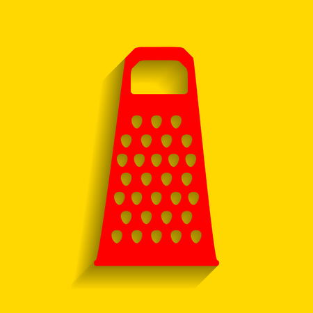Cheese grater sign. Vector. Red icon with soft shadow on golden background. Illustration