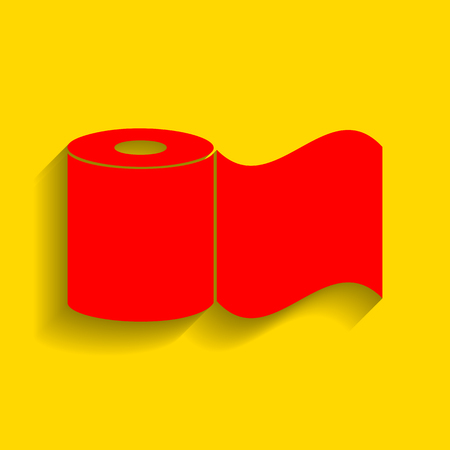 Toilet Paper sign. Vector. Red icon with soft shadow on golden background.