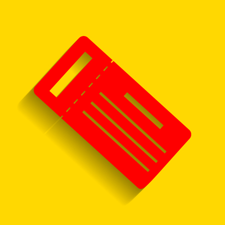 Ticket simple sign. Vector. Red icon with soft shadow on golden background. Illustration