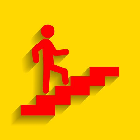 Man on Stairs going up. Vector. Red icon with soft shadow on golden background.
