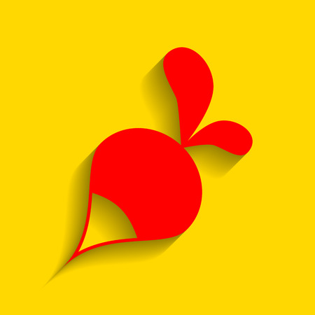 vegatables: Radish simple sign. Vector. Red icon with soft shadow on golden background.