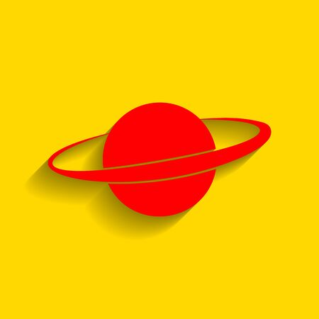 Planet in space sign. Vector. Red icon with soft shadow on golden background.