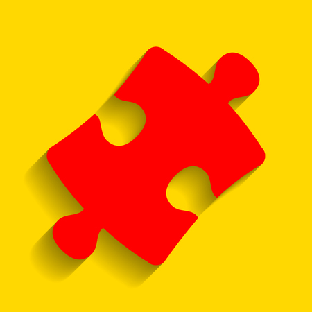 Puzzle piece sign. Vector. Red icon with soft shadow on golden background. Illustration
