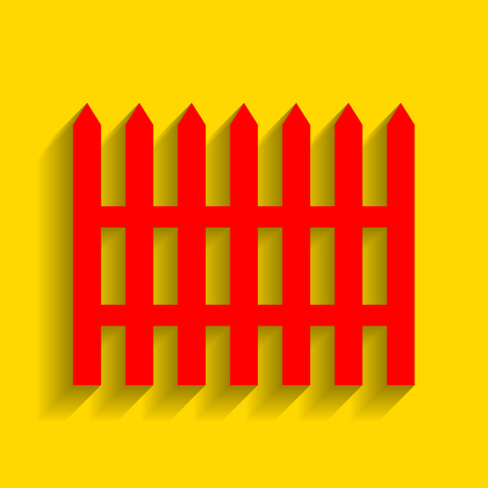 dissociation: Fence simple sign. Vector. Red icon with soft shadow on golden background. Illustration