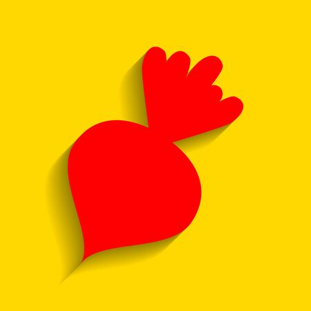 Beet simple sign. Vector. Red icon with soft shadow on golden background. Illustration