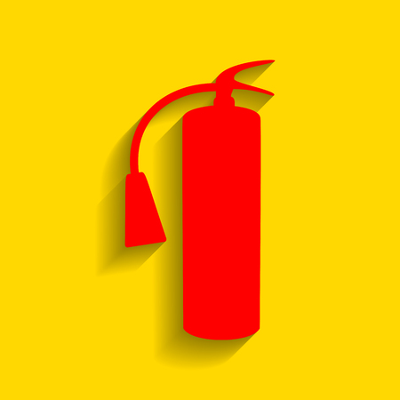Fire extinguisher sign. Vector. Red icon with soft shadow on golden background.