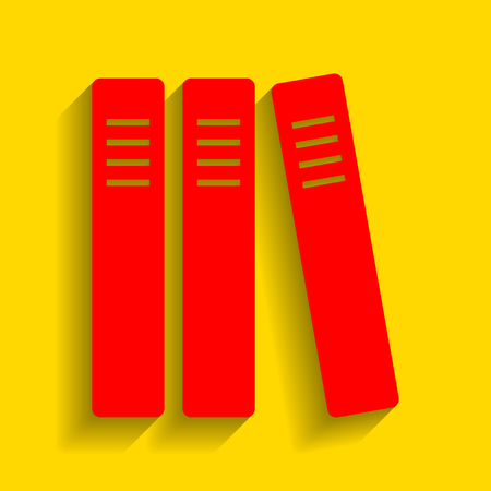Row of binders, office folders icon. Vector. Red icon with soft shadow on golden background. Illustration