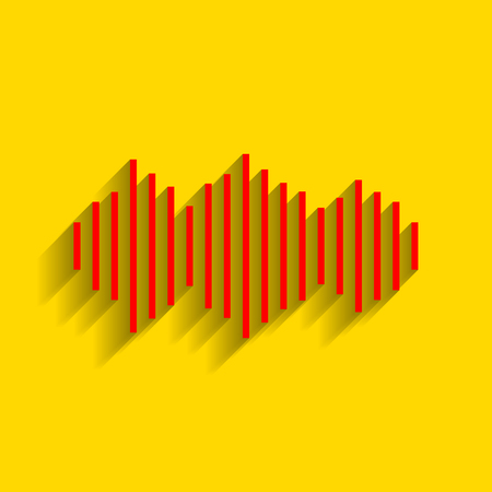 Sound waves icon. Vector. Red icon with soft shadow on golden background. Illustration