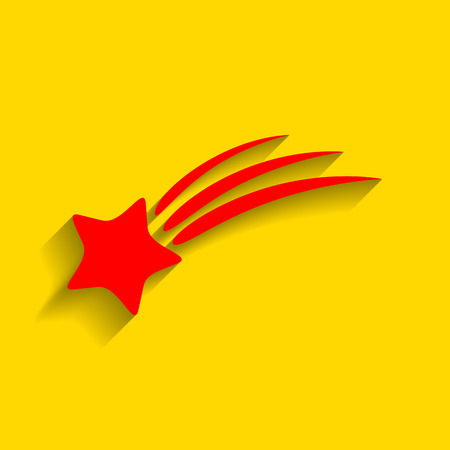Shooting star sign. Vector. Red icon with soft shadow on golden background.