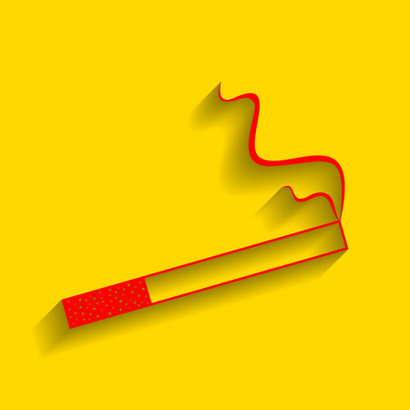 Smoke icon great for any use. Vector. Red icon with soft shadow on golden background.