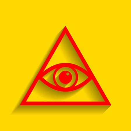ojo de horus: All seeing eye pyramid symbol. Freemason and spiritual. Vector. Red icon with soft shadow on golden background.