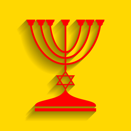Jewish Menorah candlestick in black silhouette. Vector. Red icon with soft shadow on golden background.
