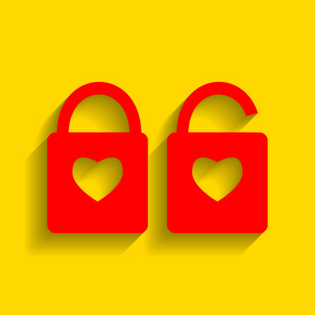 door lock love: lock sign with heart shape. A simple silhouette of the lock. Shape of a heart. Vector. Red icon with soft shadow on golden background. Illustration
