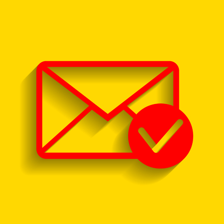 allow: Mail sign illustration with allow mark. Vector. Red icon with soft shadow on golden background.