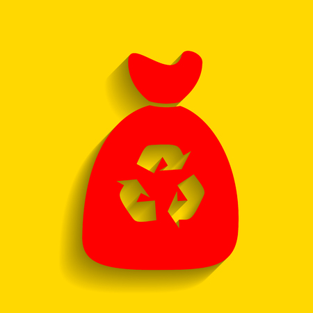 Trash bag icon. Vector. Red icon with soft shadow on golden background. Illustration