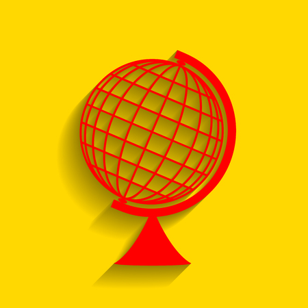 globe  the terrestrial ball: Earth Globe sign. Vector. Red icon with soft shadow on golden background.