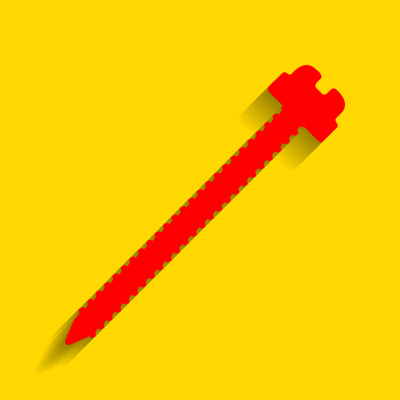Screw sign illustration. Vector. Red icon with soft shadow on golden background.