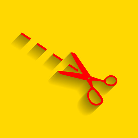 Scissors sign illustration. Vector. Red icon with soft shadow on golden background. Illustration