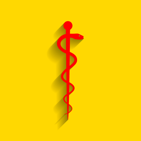 Symbol of the Medicine. Vector. Red icon with soft shadow on golden background.