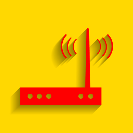 public domain: Wifi modem sign. Vector. Red icon with soft shadow on golden background.