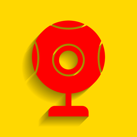 Chat web camera sign. Vector. Red icon with soft shadow on golden background.