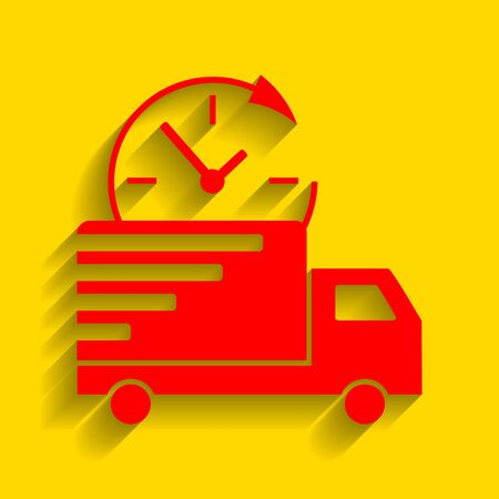 semitruck: Delivery sign illustration. Vector. Red icon with soft shadow on golden background.