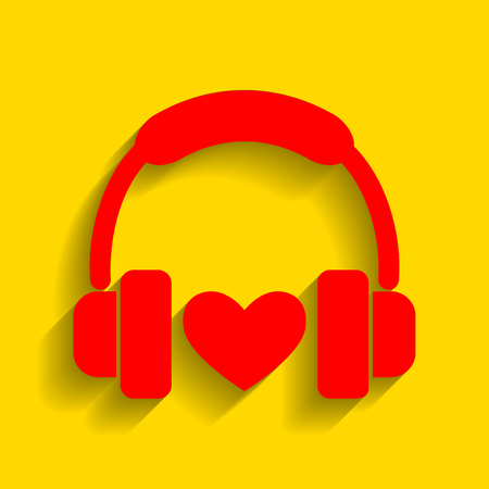 Headphones with heart. Vector. Red icon with soft shadow on golden background. Illustration
