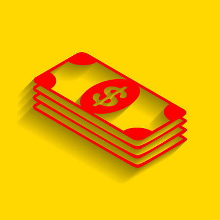 Bank Note dollar sign. Vector. Red icon with soft shadow on golden background. Illustration