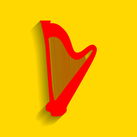 Musical instrument harp sign. Vector. Red icon with soft shadow on golden background. Illustration