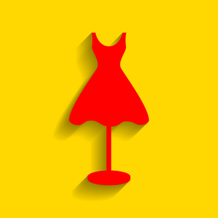 Mannequin with dress sign. Vector. Red icon with soft shadow on golden background. Illustration