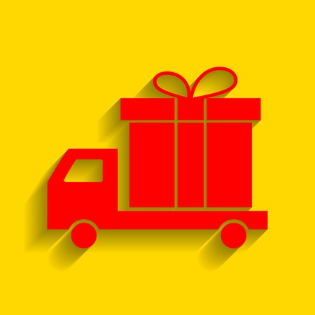 Delivery gift sign. Vector. Red icon with soft shadow on golden background.