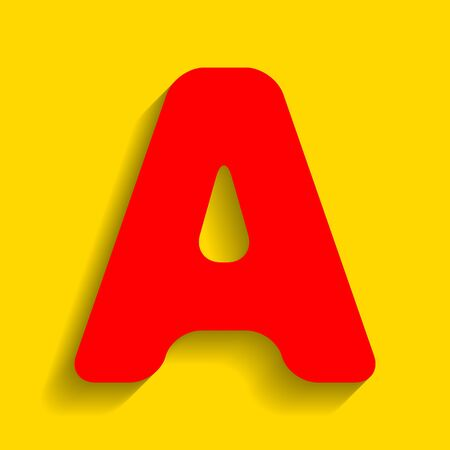 Letter A sign design template element. Vector. Red icon with soft shadow on golden background.