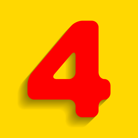 Number 4 sign design template element. Vector. Red icon with soft shadow on golden background.