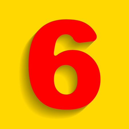 equation: Number 6 sign design template element. Vector. Red icon with soft shadow on golden background.