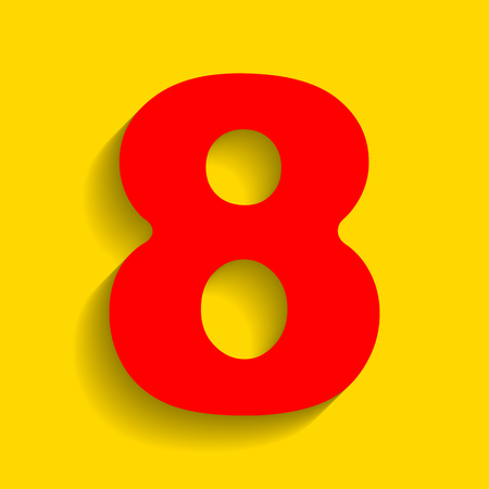 Number 8 sign design template element. Vector. Red icon with soft shadow on golden background.