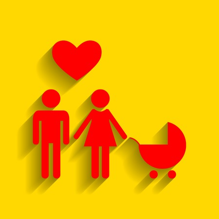Family symbol with pram and heart. Husband and wife are kept each other`s hands. Love. Vector. Red icon with soft shadow on golden background.