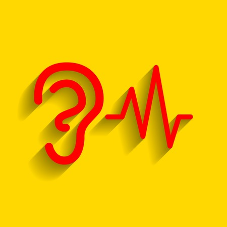 audition: Ear hearing sound sign. Vector. Red icon with soft shadow on golden background.