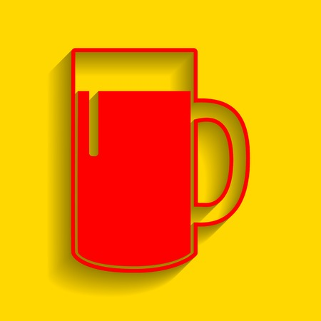 Beer glass sign. Vector. Red icon with soft shadow on golden background.