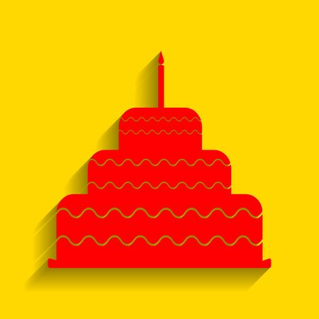 Cake with candle sign. Vector. Red icon with soft shadow on golden background.